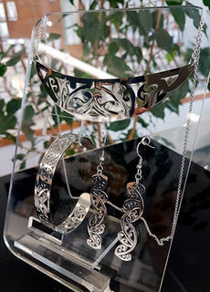 Silver Stainless Steel kowahaiwhai cutout Pendant (2) & cutout earrings 55mm & skinny cutout cuff