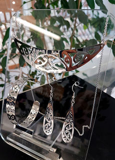 Silver Stainless Steel kowahaiwhai cutout Pendant (2) & cutout teardrop earrings 55mm & skinny cutout cuff