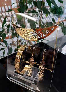 Gold Stainless Steel kowahaiwhai cutout Pendant (2) & cutout earrings 35mm & skinny cutout cuff
