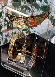 Gold Stainless Steel kowahaiwhai cutout Pendant (2) & cutout earrings 55mm & skinny cutout cuff