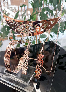 Rose Gold Stainless Steel kowahaiwhai cutout Pendant (2) & cutout earrings 55mm & skinny cutout cuff