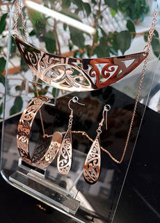 Rose Gold Stainless Steel kowahaiwhai cutout Pendant (2) & cutout earrings & skinny cutout cuff