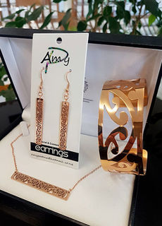 Rose Gold Steel 3 piece set . Earrings, Cuff (large) Bar chain
