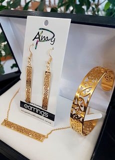 Gold Stainless Steel 3 piece set . Earrings, Cuff (Skinny) Bar chain