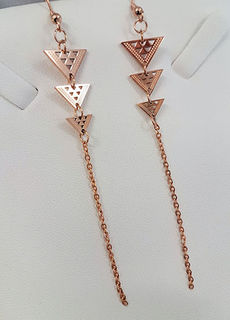 Niho taniwha Triple Drop triangles Rose Gold stainless steel with 60mm chain tassel