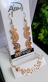 Kowhaiwhai Rose Golds 2 Pce set cutout earrings 55mm, skinny necklace,
