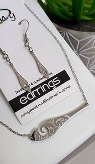 Silver Waka Paddle & Earring 25mm, Pendant 50mm set