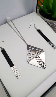 Niho Taniwha Black & Silver Daimond 60mm Pendant 60mm rectangle earrings
