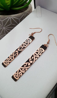 Kowhaiwhai Black & Rose Gold Earrings 55mm
