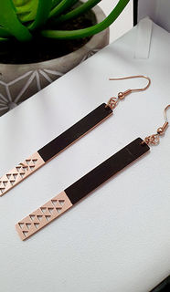 Two Tone Black & Rose Gold Niho Taniwha earrings 55mm