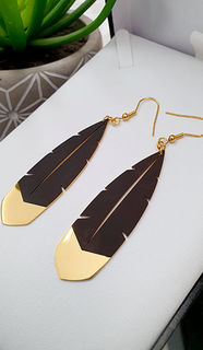Black & Gold Huia Feather earrings 60mm