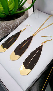 Black & Gold Huia Feather Pendant 60mm & 60mm Earrings