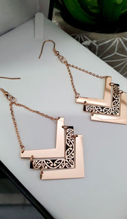 Rose Gold & Black Chevron Kowhaiwhai Earrings 35mm (Chain length 30mm)
