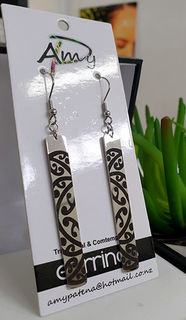 Black & Silver Kowhaiwhai 55mm Rectangle Earrings