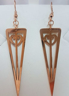 Rose Gold Stainless Steel Koru heart triangle 50mm earrings
