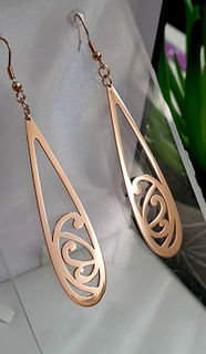 Koru Teardrop earrings 60mm Rose Gold