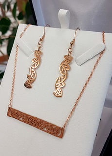 Rose Gold Kowhaiwhai Bar Chain Necklace & 35mm earring set