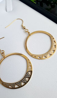 Niho Taniwha Gold Hoop Earrings 35.00mm