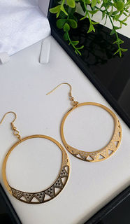 Gold Niho Taniwha  Hoop Earrings 45mm