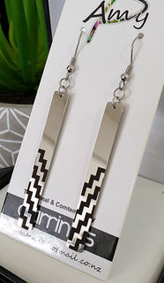 Black & Silver Poutama rectangle 55mm earrings