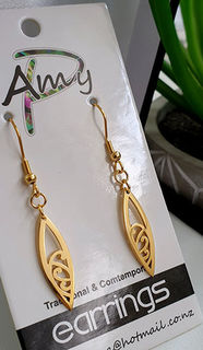 Koru Surfboard earrings 25mm  Gold