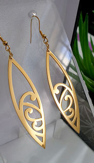 Koru Surfboard earrings 60mm  Gold