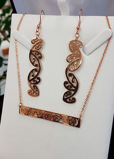 Rose Gold Kowhaiwhai Bar Chain Necklace & 55mm earring set