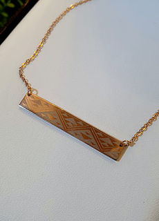 Niho taniwha Rose Gold bar chain 45mm