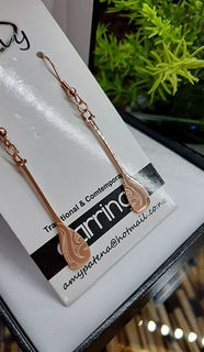 Rose Gold Ta moko Waka Paddle earring 35mm