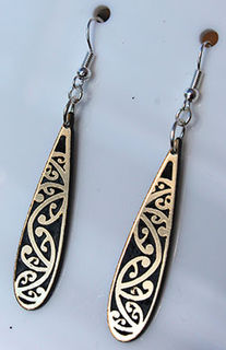 Black & Gold Acrylic Kowhaiwhai earrings