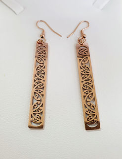 Rose Gold rectangle earrings cutout 50mm