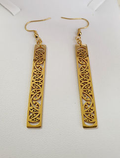 Gold kowhaiwhai rectangle cutout earrings 50mm