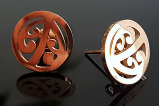 Kowhaiwhai cutout studs 18mm (Rose Gold Stainless steel)