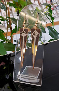 Rose Gold Taniko triangle earrings 60mm