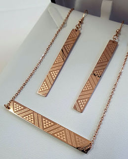 Rose Gold Taniko Bar Pendant (horizontal) 50mm on stainless steel chain with rectangle 55mm earrings