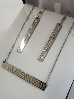 Silver Taniko Bar Pendant (horizontal) 55mm on stainless steel chain with rectangle 50mm earrings