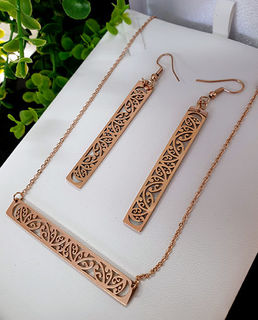 Rose Gold Stainless Steel kowahaiwhai bar chain pendant (2) & cutout rectangle earrings 50mm