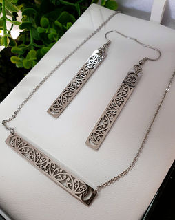 Silver Stainless Steel kowahaiwhai bar chain pendant (2) & cutout rectangle earrings 50mm