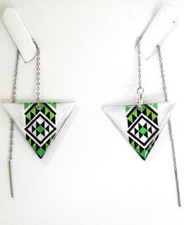 Green Resin Taniko  Triangles with 100mm Stainless steel threads