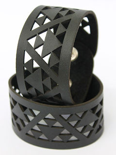 NZ Leather Niho taniwha Black cutout  cuff Jumbo 250mm  x 40mm