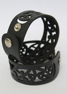 NZ Leather Kowhaiwhai Black cutout  cuff Med, Lge 230mm  x 30mm