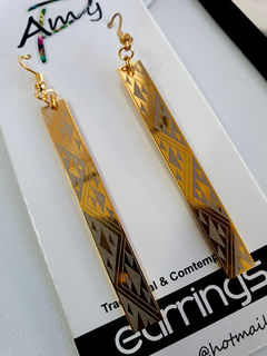 Niho taniwha Gold Rectangle earrings 50mm