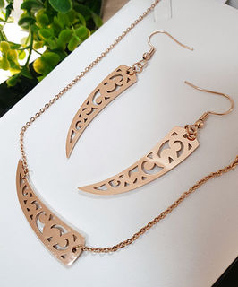 Rose Gold stainless Steel  Niho Earring and pendant set