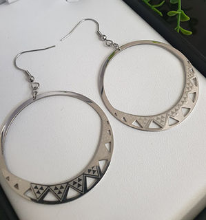 Niho Taniwha Silver Hoop Earrings 30mm