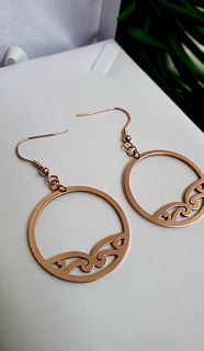 Rose Gold Puhoro Hoop Earrings 35mm