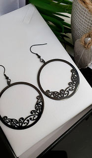 Black Kowhaiwhai Hoop Earrings 45mm