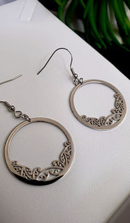 Silver Kowhaiwhai Hoop Earrings 30mm