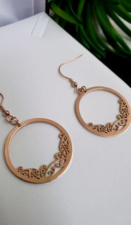Rose Gold Kowhaiwhai Hoop Earrings 30mm