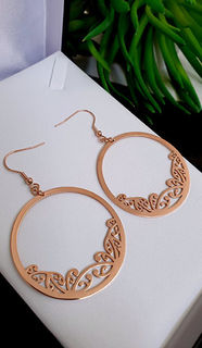 Rose Gold Kowhaiwhai Hoop Earrings 45mm