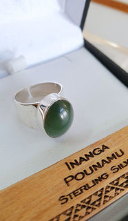 Sterling Silver Ring with Inanga Pounamu cabochon 16mm